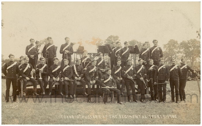Postcard front: The Band 18th Hussars at the Regimental Sports 1906
