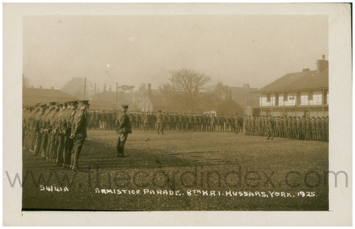 Postcard front: Armistice Parade. 8th K.R.I. Hussars. York. 1925