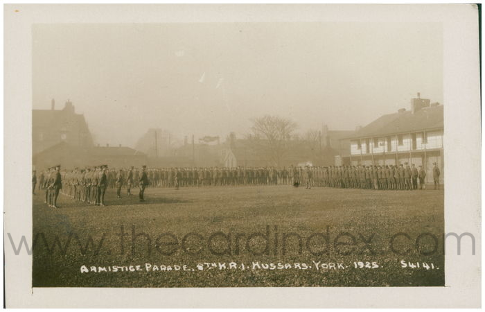 Postcard front: Armistice. Parade. 8th K.R.I. Hussars. York. 1925
