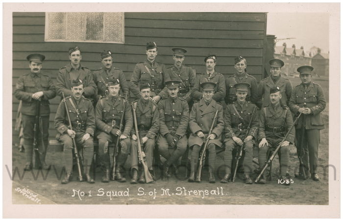 Postcard front: No 1 Squad S. of M. Strensall