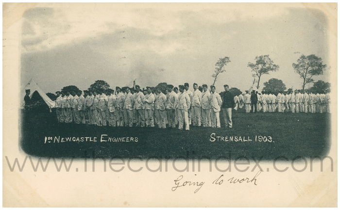 Postcard front: 1st Newcastle Engineers Strensall 1903
