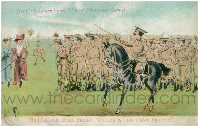 Postcard front: His Girl comes to see him at Strensall Camp.