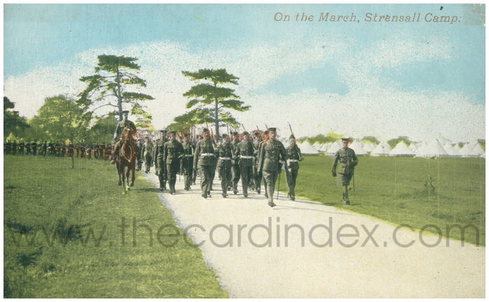 Postcard front: On the March, Strensall Camp
