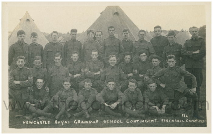 Postcard front: Newcastle Royal Grammar School Contingent. Strensall Camp 1921