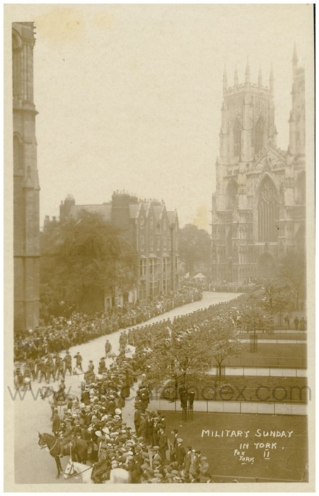 Postcard front: Military Sunday in York.