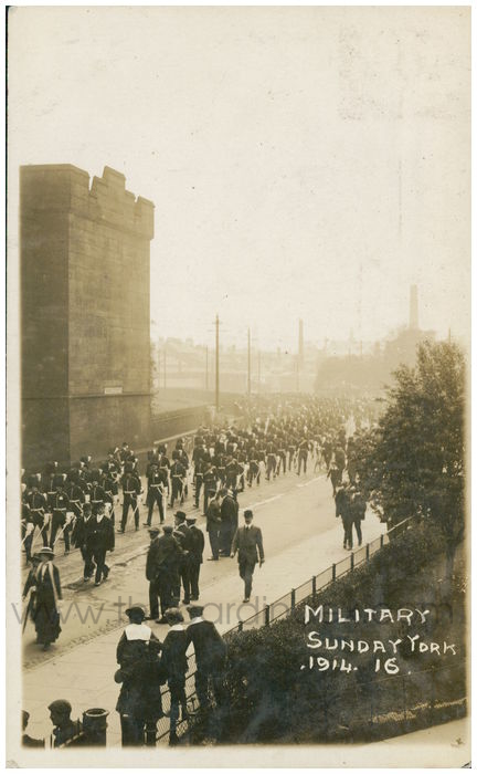 Postcard front: Military Sunday York. 1914
