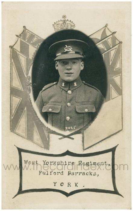 Postcard front: West Yorkshire Regiment Fulford Barracks, York.