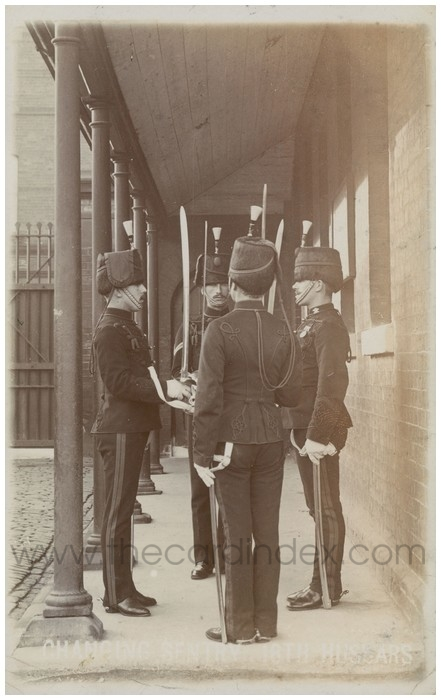 Postcard front: Changing Sentry 18th Hussars