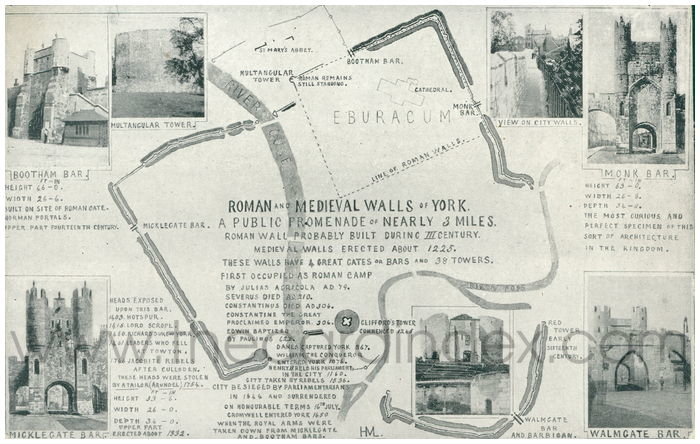 Postcard front: Roman and Medieval Walls of York A Public Promenade of Nearly 3 Miles