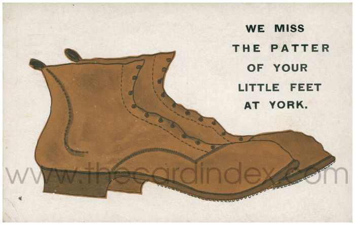 Postcard front: We Miss the Patter of Your Little Feet At York