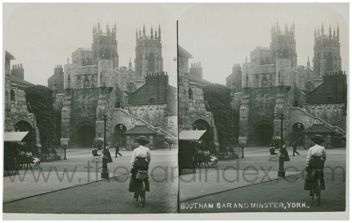 Postcard front: Bootham Bar and Minster, York.