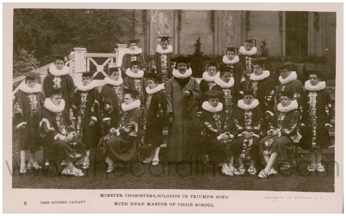 Postcard front: Minser Choristers, Soloists in Triumph Song with Head Master of Choir School