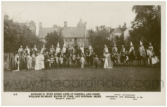 Postcard front: Richard II with Queen Anne of Bohemia and Court William De Selby, Mayor of York and Mistress Selby