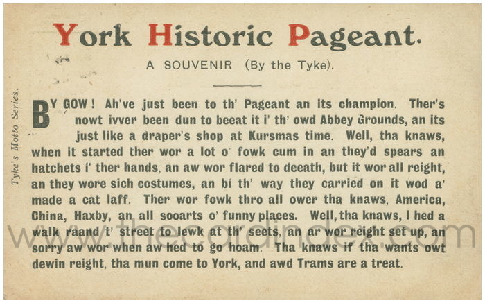 Postcard front: York Historic Pageant. A Souvenir (By the Tyke)