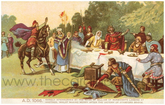 Postcard front: A.D. 1066. Harold interrupted by the news of William of Normandy's landing at Hastings, whilst making merry after the victory of Stamford Bridge