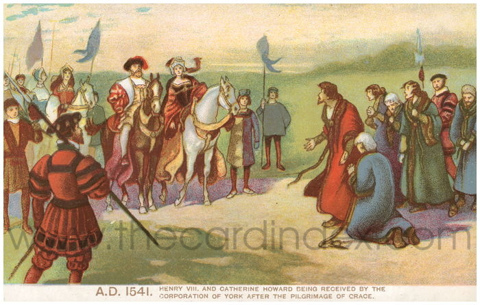 Postcard front: A.D. 1541 Henry VIII and Catherine Howard being received by the Corporation of York after the Pilgrimage of Grace