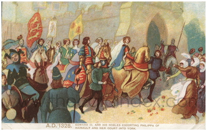 Postcard front: A.D. 1328. Edward III and his nobles escorting Philippa of Hinault and her court into York