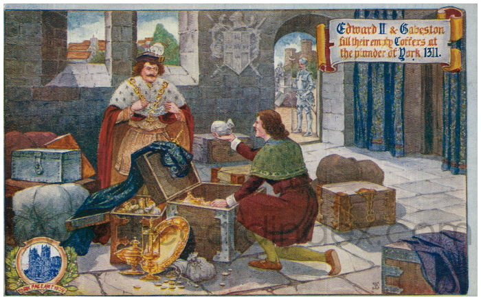 Postcard front: Edward II & Gebeston fill their empty coffers at the plunder of York 1311