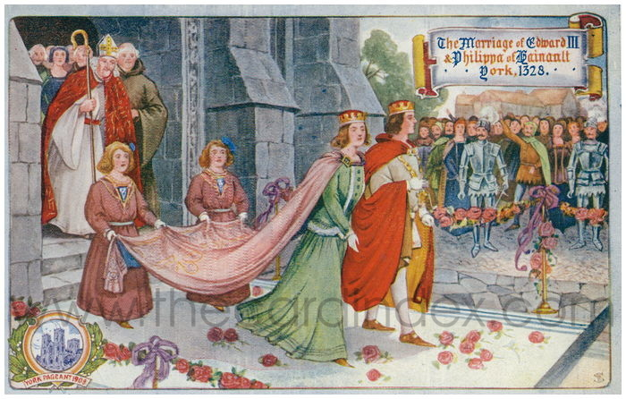 Postcard front: The Marriage of Edward III & Philippa of Hainault York, 1328
