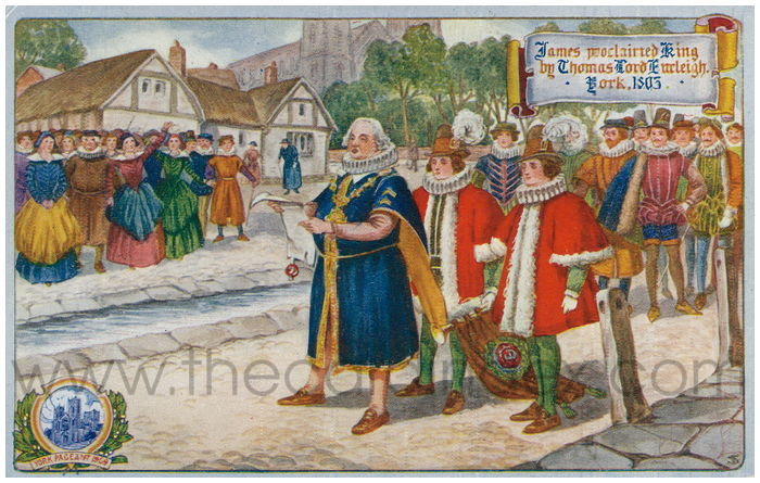 Postcard front: James proclaimed King by Thomas Lord Burleigh York 1603