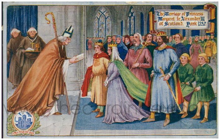 Postcard front: The Marriage of Princess Margaret to Alexander III of Scotland. York 1252