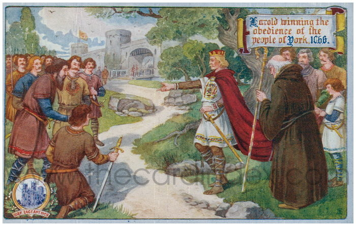 Postcard front: Harold winning the obedience of the people of York. 1066