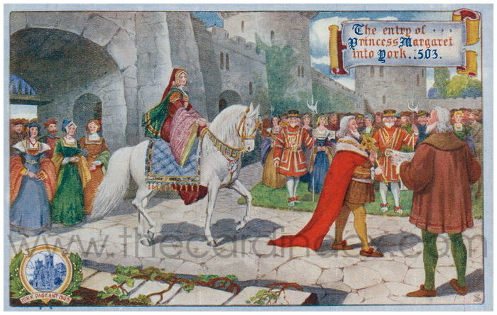 Postcard front: The entry of Princess Margaret into York 1503
