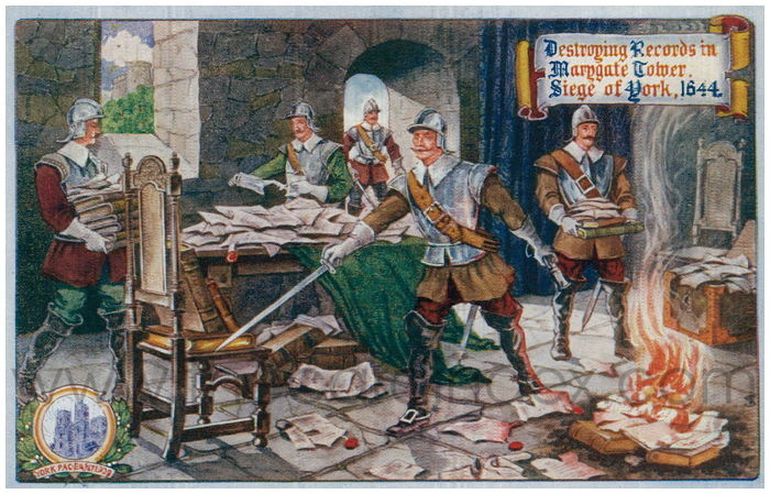 Postcard front: Destroying Records in Marygate Tower. Siege of York, 1644