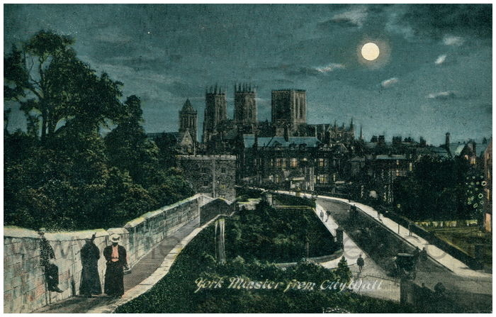 Postcard front: York Minster from City Wall