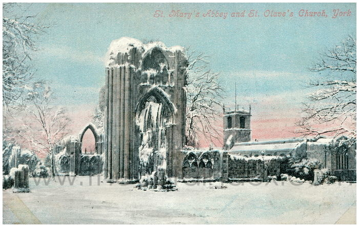 Postcard front: St. Mary's Abbey and St. Olave's Church, York