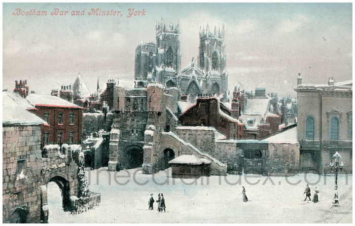 Postcard front: Bootham Bar and Minster, York