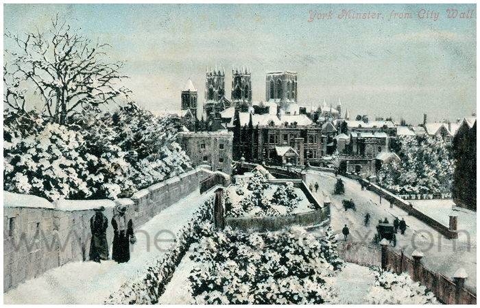 Postcard front: York Minster, from City Wall