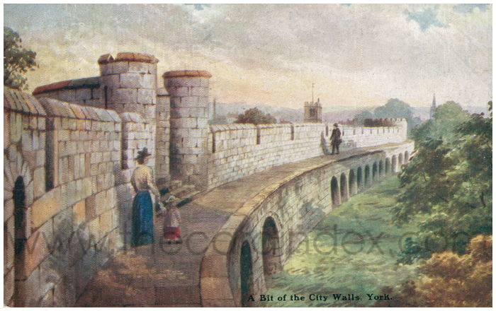 Postcard front: A Bit of the City Walls. York.