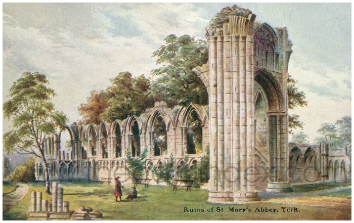 Postcard front: Ruins of St Mary's Abbey, York.