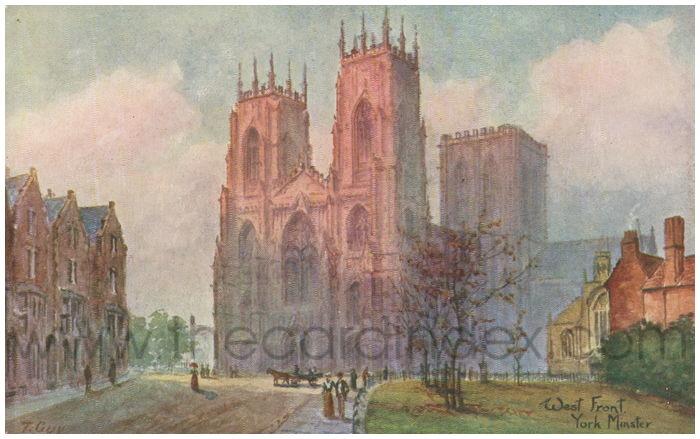 Postcard front: West Front York Minster