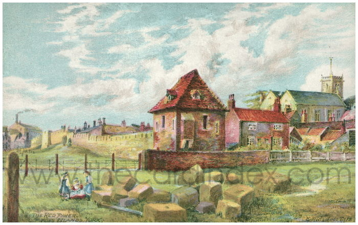 Postcard front: The Red Tower Foss Islands, York