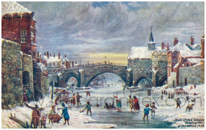 Postcard front: Old Ouse Bridge York in 1807