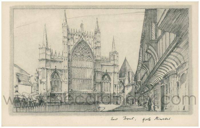 Postcard front: East Front, York Minster