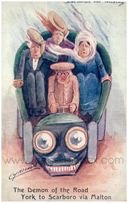 Postcard front: The Demon of the Road York to Scarboro via Malton