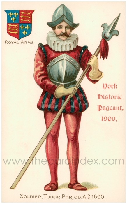 Postcard front: York Historic Pageant, 1909, Soldier, Tudor Period. A.D. 1600