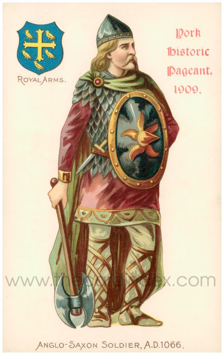 Postcard front: York Historic Pageant, 1909, Anglo-Saxon Soldier, A.D. 1066