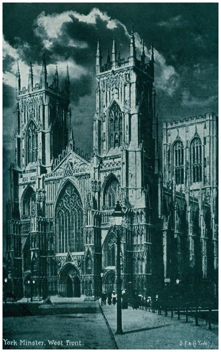 Postcard front: York Minster. West Front