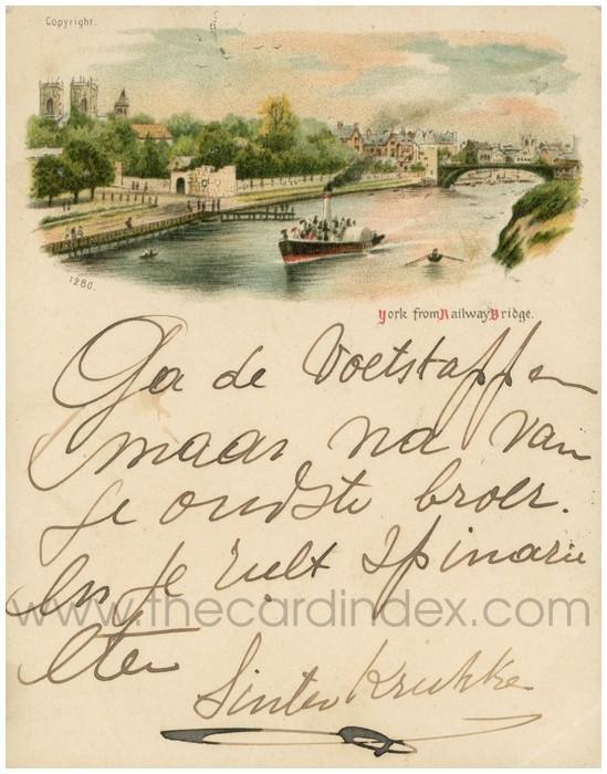 Postcard front: York from Railway Bridge