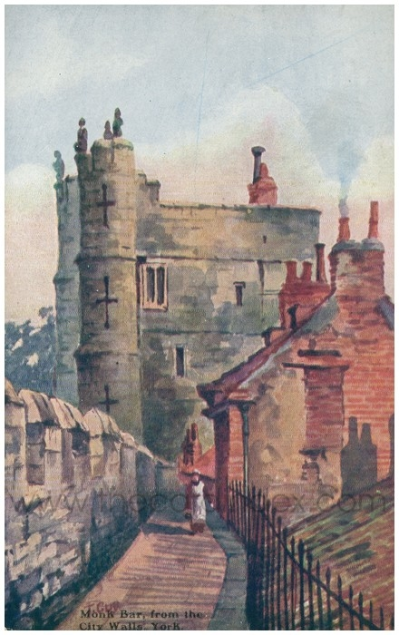 Postcard front: Monk Bar from the City Walls, York