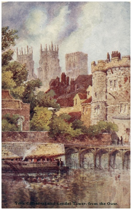 Postcard front: York Cathedral and Lendal Tower, from the Ouse