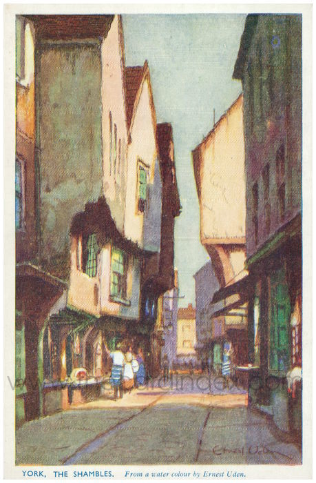Postcard front: York, The Shamblees From a water colour by Ernest Uden