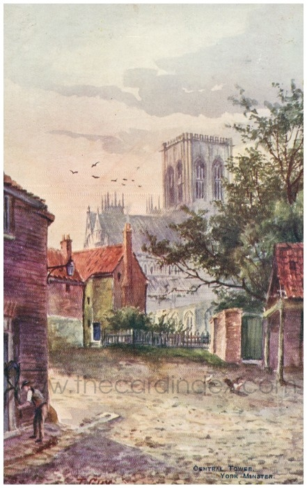 Postcard front: Central Tower, York Minster