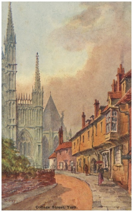 Postcard front: College Street, York