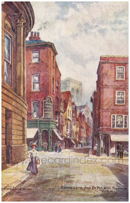 Postcard front: Stonegate from St. Helen's Square. York