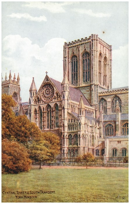 Postcard front: Central Tower & South Transept York Minster